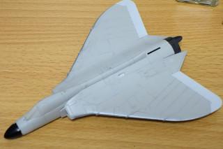機体先端、翼端、排気部分を塗装。